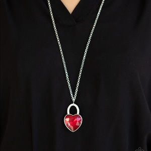 Red Heart Gem Necklace Earring Set NWT